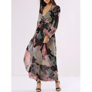 Chiffon Floral Long Sleeve Plunge Wrap Flowy Dress - Black - M