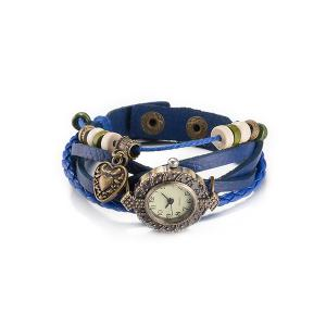 Chic Faux Leather Heart Watch Bracelet - Blue - One-size