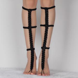 Pair of Chic Hollow Out Crochet Anklets For Women - Black