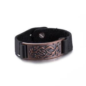 Punk Etched Rectangle Faux Leather Bracelet