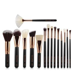 15 Pcs Nylon Facial Eye Lip Makeup Brushes Set - Black