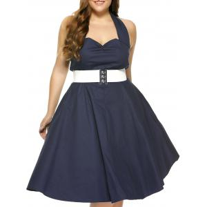 Plus Size Halter Open Back Pin Up Cocktail Dress