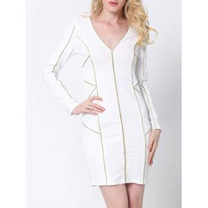Plunge Long Sleeve Fitted Tight Sheath Dress