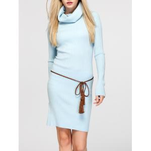 Cowl Neck Fitted Sweater Dress
