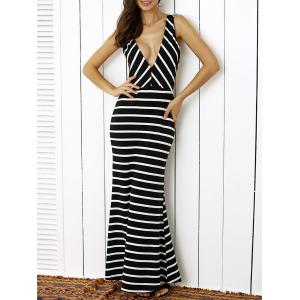 Plunge Stripe Open Back Maxi Prom Evening Dress - White And Black - S