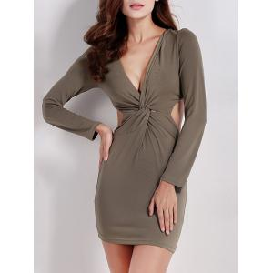 Twist Zip Long Sleeve Night Out Dress - Army Green - S
