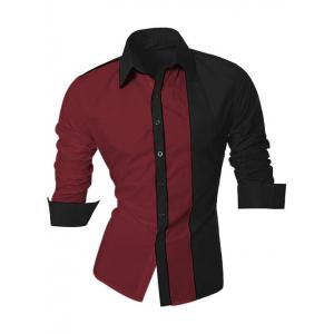 Color Block Splicing Design Turn-Down Collar Long Sleeve Shirt For Men - Dark Red - 2xl