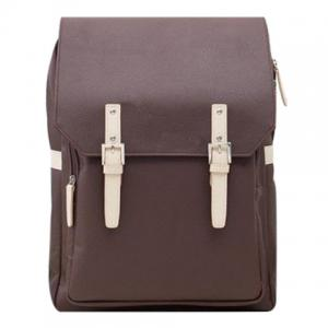 Fashion PU Leather and Double Buckle Design Backpack For Men - Coffee