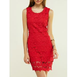 Lace Floral Tight Short Homecoming Dress - Red - S