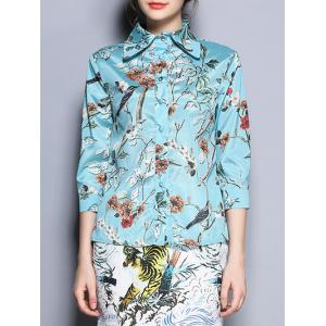 Satin Floral Print Buttoned Shirt