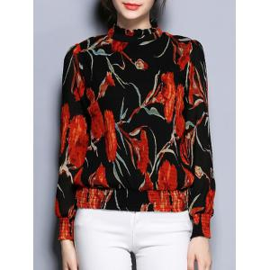 Long Sleeve Floral Print Slimming Blouse
