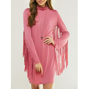 Cowl Neck Long Sleeve Fringed Flapper Dress