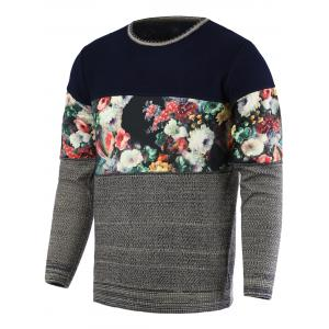 Color Block Splicing Floral Print Round Neck Long Sleeve Sweater For Men - Gray - Xl