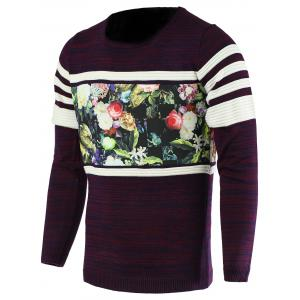 Color Block Splicing Flower Print Round Neck Long Sleeve Sweater For Men - Purple - M