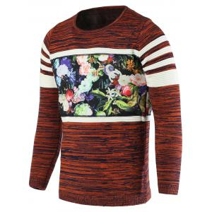 Color Block Splicing Flower Print Round Neck Long Sleeve Sweater For Men - Orange - M