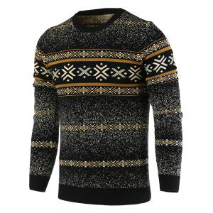 Snowflake Pattern Round Neck Long Sleeve Sweater For Men