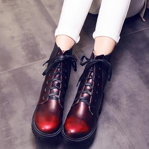 Trendy Splicing and Lace-Up Design Short Boots For Women - Wine Red - 38