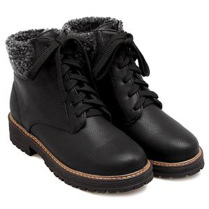 Stylish Faux Shearling and Lace-Up Design Short Boots For Women