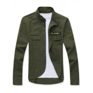 Stand Collar Single Breasted Applique Long Sleeve Jacket For Men