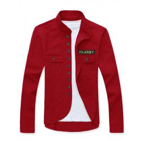 Stand Collar Single Breasted Applique Long Sleeve Jacket For Men - Red - M