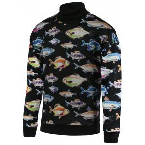 3D Fish Print Turtle Neck Long Sleeve Sweatshirt For Men