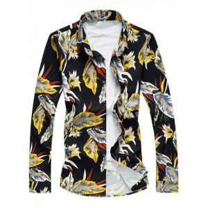 Long Sleeve Turn-Down Collar Withered Leaf Printed Sport Shirt