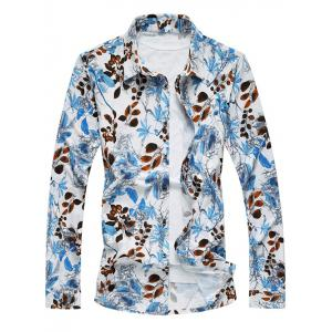 Turn-Down Collar Long Sleeve Leaf Printed Hawaiian Shirt