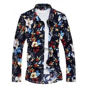 Casual Long Sleeve Floral Printed Hawaiian Shirt