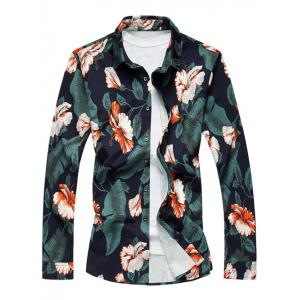 Turn-Down Collar Long Sleeve Floral Hawaiian Shirt