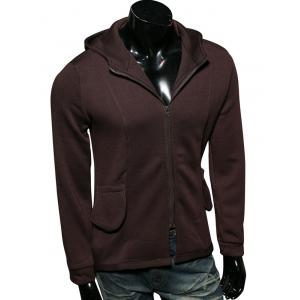 Zip Up Pocket Embellished Long Sleeve Hoodie