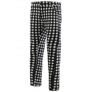 Plaid Zipper Fly Skinny Tapered Pants For Men