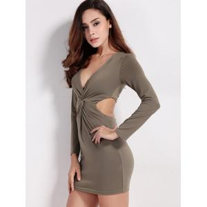 Twist Zip Long Sleeve Night Out Dress -