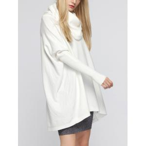 Oversized Turtleneck Tunic Long Sweater - WHITE ONE SIZE