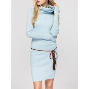 Cowl Neck Fitted Sweater Dress - LIGHT BLUE ONE SIZE