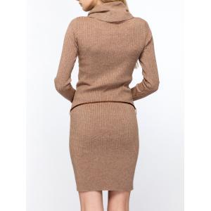 Cowl Neck Fitted Sweater Dress -