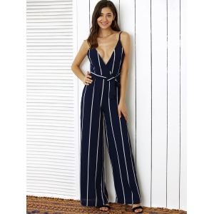 Stunning Plunge Neck Backless Vertical Stripe Palazzo Jumpsuit -
