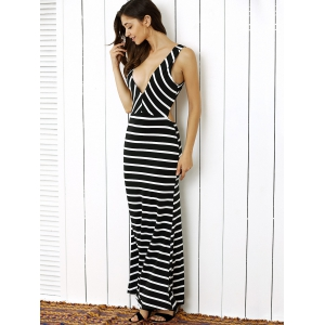Plunge Stripe Open Back Maxi Prom Evening Dress - WHITE AND BLACK S