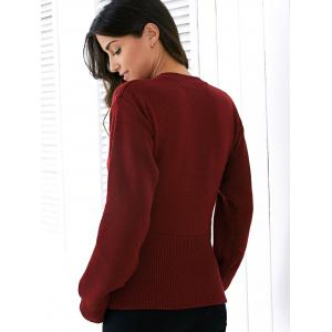 Fashion Round Neck Long Sleeve Solid Color Lace Up Sweater For Women - WINE RED ONE SIZE
