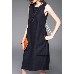 Lace-Up Knee Length Sweater Dress - GRAY M