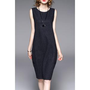 Lace-Up Knee Length Sweater Dress