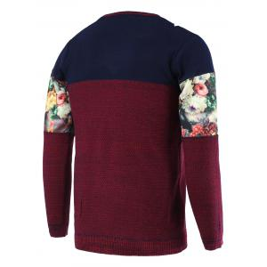Color Block Splicing Floral Print Round Neck Long Sleeve Sweater For Men - RED 2XL