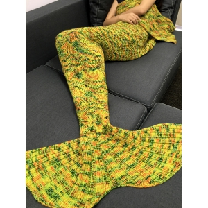 Stylish Yarn Knitted Hollow Out Design Warmth Mermaid Tail Blanket - YELLOW