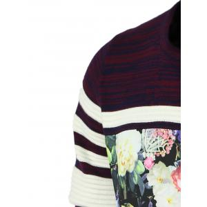 Color Block Splicing Flower Print Round Neck Long Sleeve Sweater For Men - PURPLE 2XL