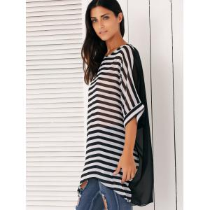 Loose-Fitting Striped Chiffon Cover-Up -