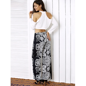 Cold Shoulder Crop Top and Palazzo Pants Twinset -