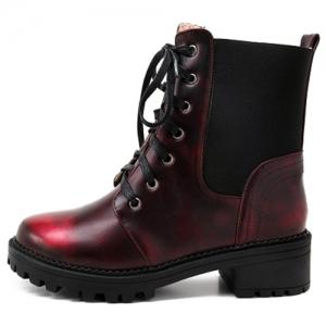 Trendy Splicing and Lace-Up Design Short Boots For Women - WINE RED 39