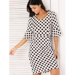 Bell Sleeves Polka Dot Dress - WHITE 2XL