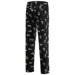 Rose Skull Print Zipper Fly Skinny Tapered Pants For Men -