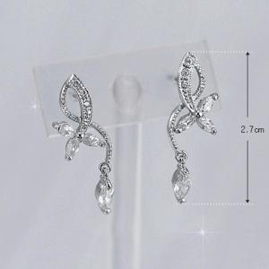 Silver Plated Floral Rhinestone Earrings -