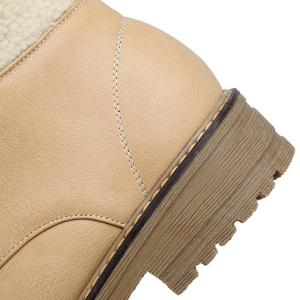 Stylish Faux Shearling and Lace-Up Design Short Boots For Women -